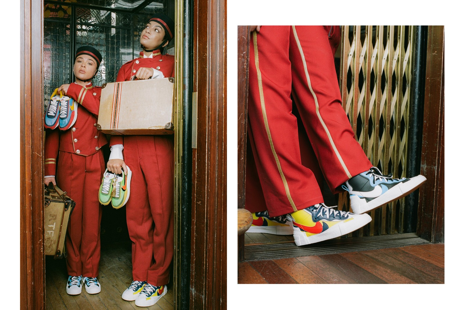 sacai x Nike LDWaffle Blazer Mid Editorial Wes Anderson The Grand Budapest Hotel Bellboy Uniform Green Yellow Orange