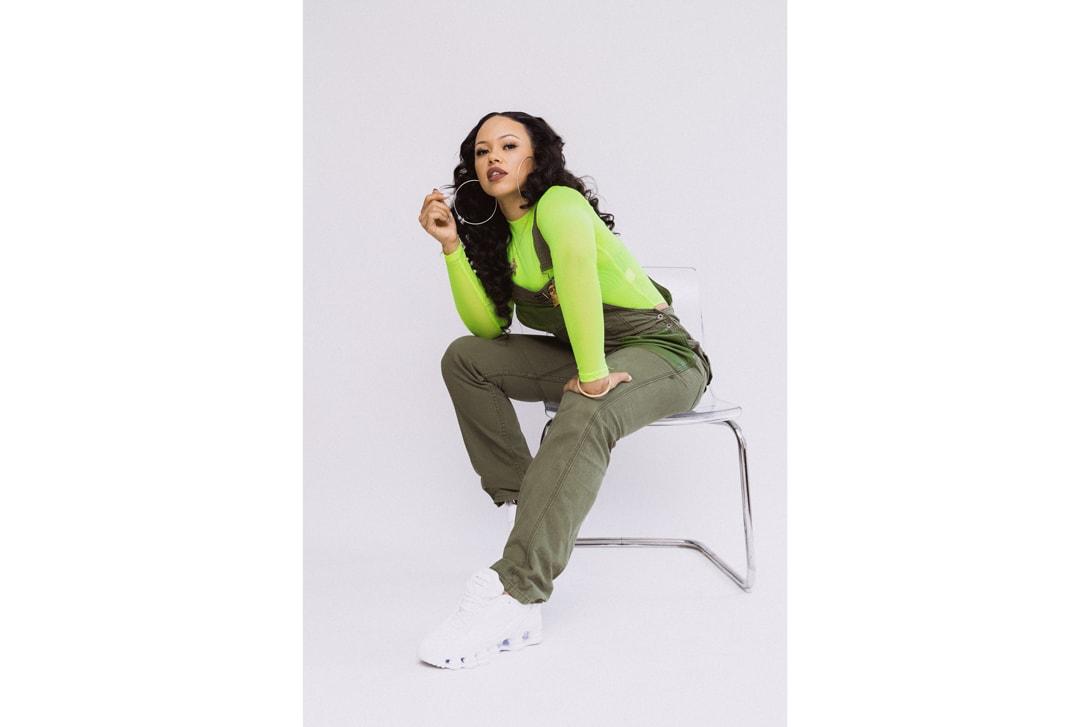 Elle Varner Shirt Overalls Green COMME des GARÇONS x Nike Shox TL Sneakers White