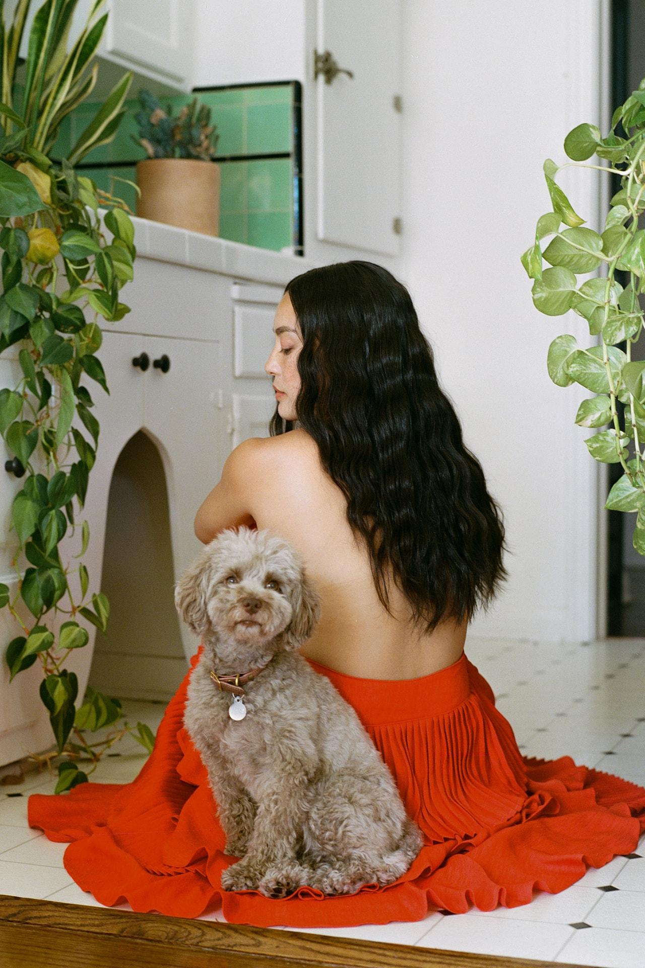 SOSUPERSAM Samantha Duenas Dog Pet Red Skirt Home Kitchen Wavy Hair