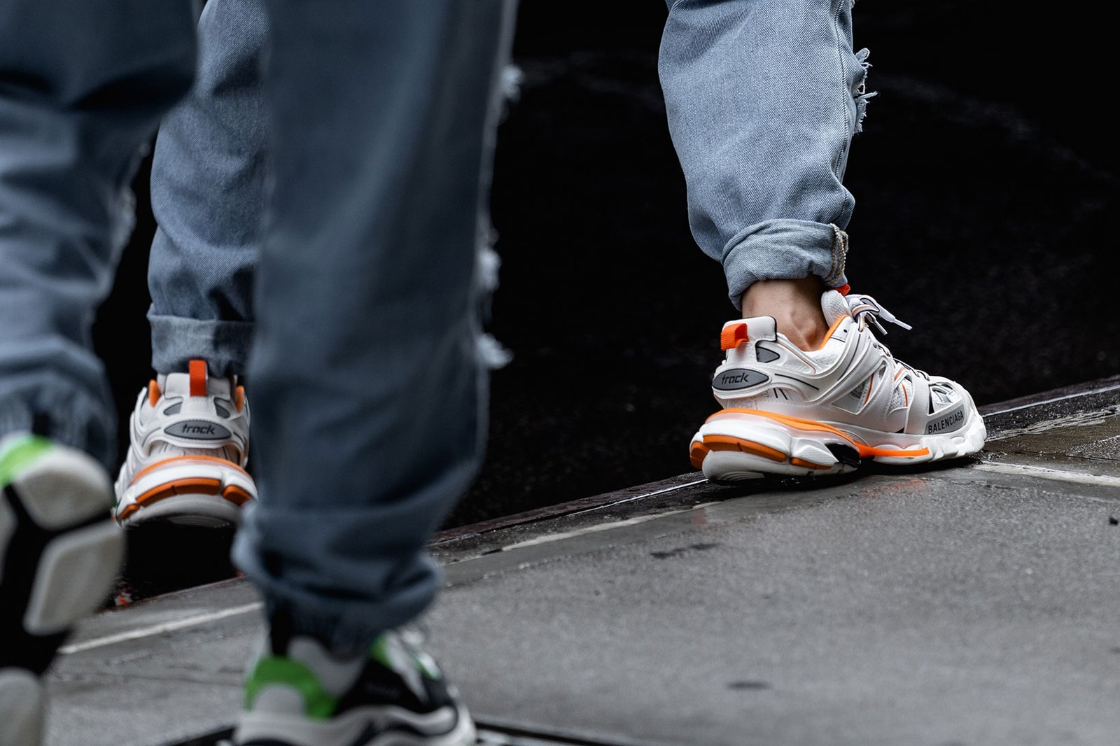 best street style sneakers new york fashion week nyfw nike adidas comme des garcons sacai shox yeezy boost 700 balenciaga track converse pro leather ss20 spring summer 2020