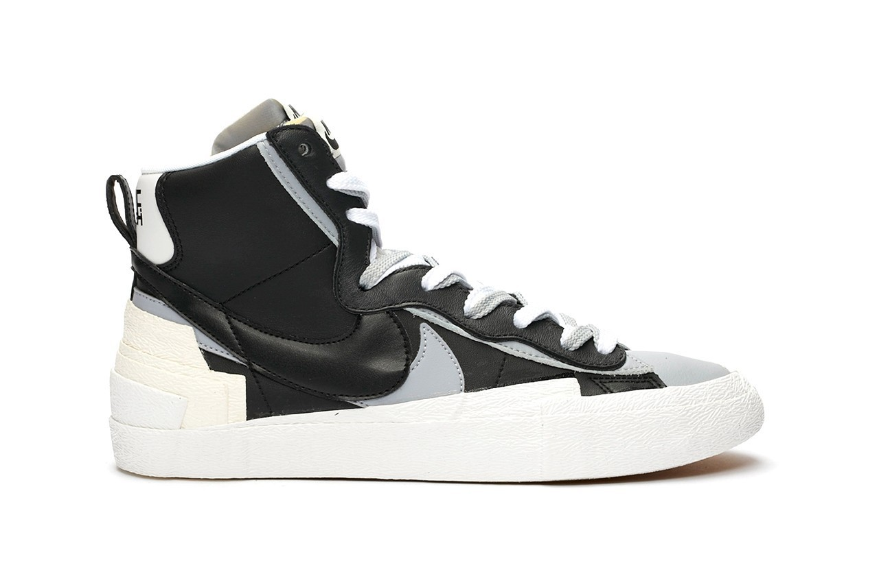 sacai x Nike Blazer Mid White Grey Sneaker Collaboration High Top