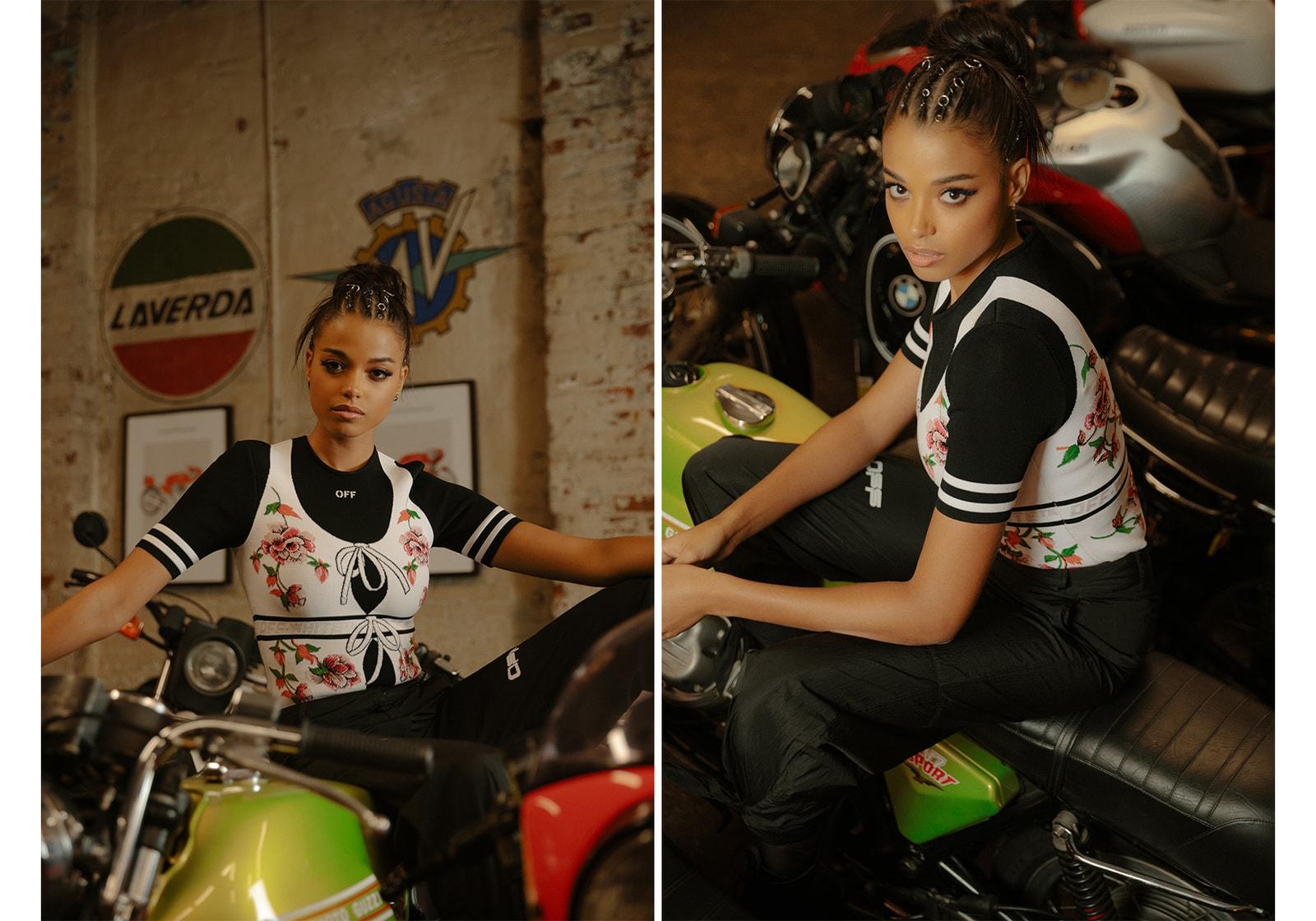 Ella Balinska Charlie's Angels Actor Actress Jane Kano Fashion Editorial Motorcycle Bike Helmet Off-White Virgil Abloh Top Black Floral Vest