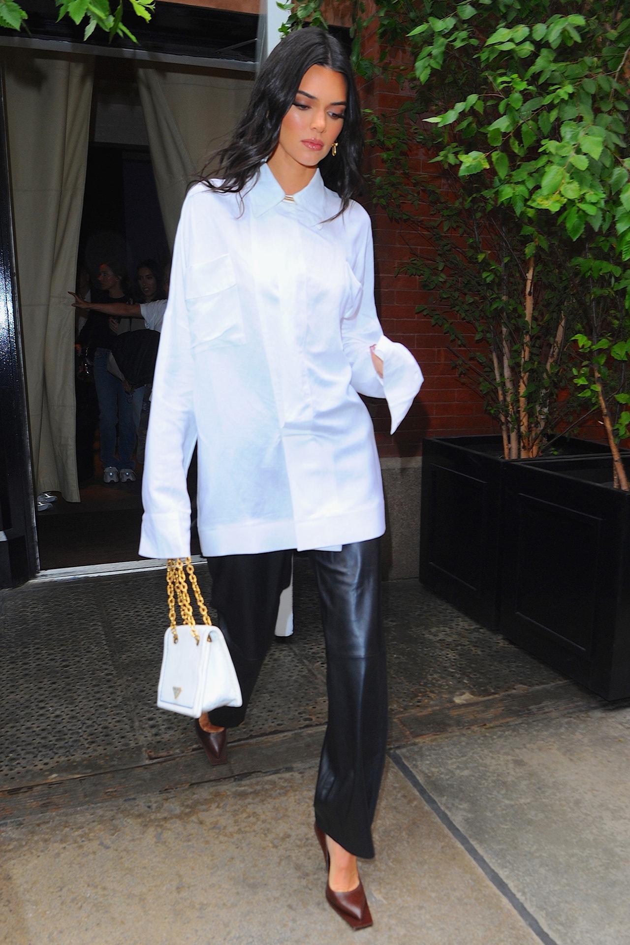 Kendall Jenner Street Style Black Dress Sunglasses Moon Shaped Bag Model Supermodel