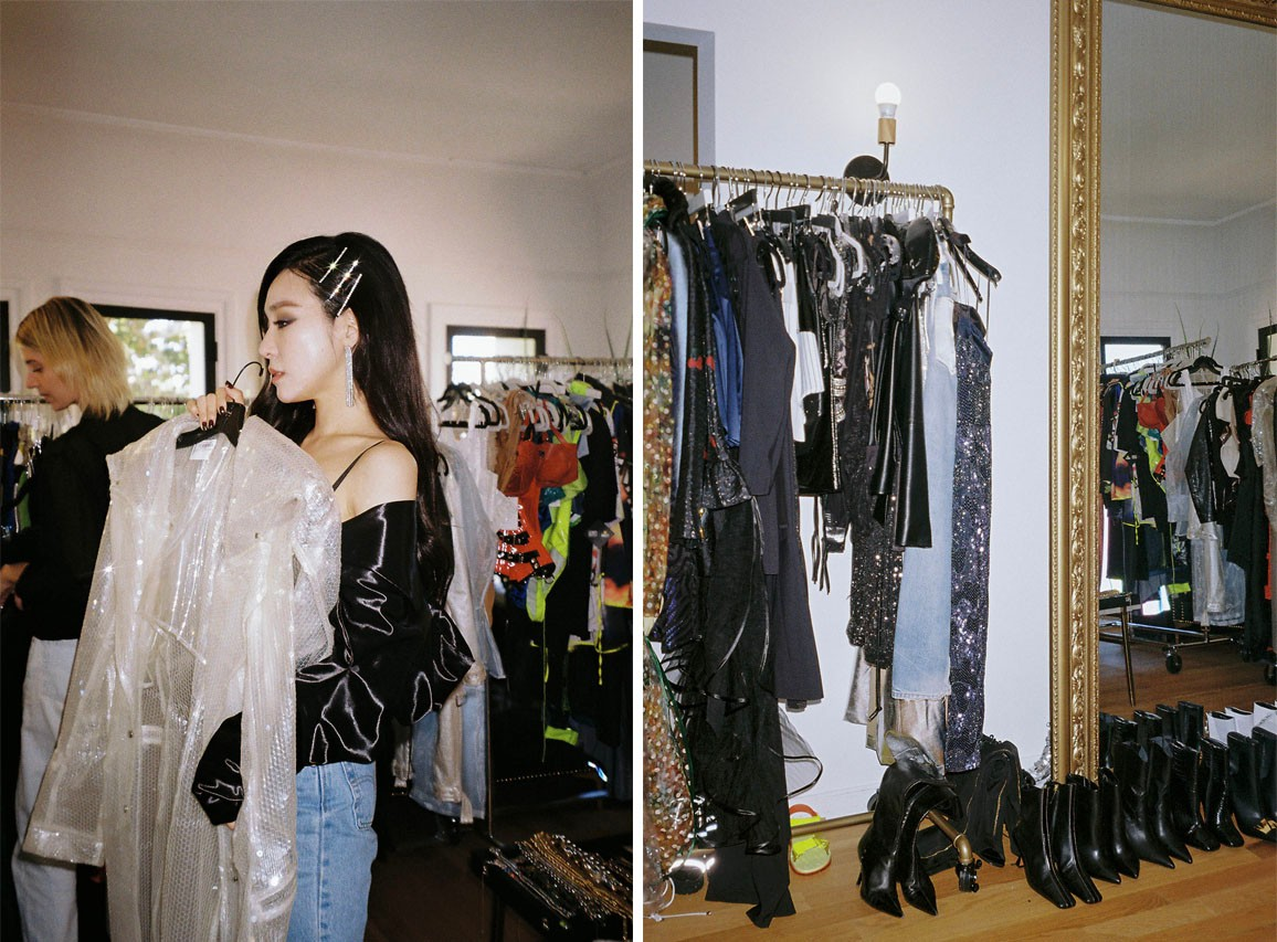 Tiffany Young K-pop Girls' Generation Magnetic Moon Tour Closet Hair clips Earrings Long Black Hair 2019 Fashion Style Korean Celebrity Singer Solo Artist Run for Your Life