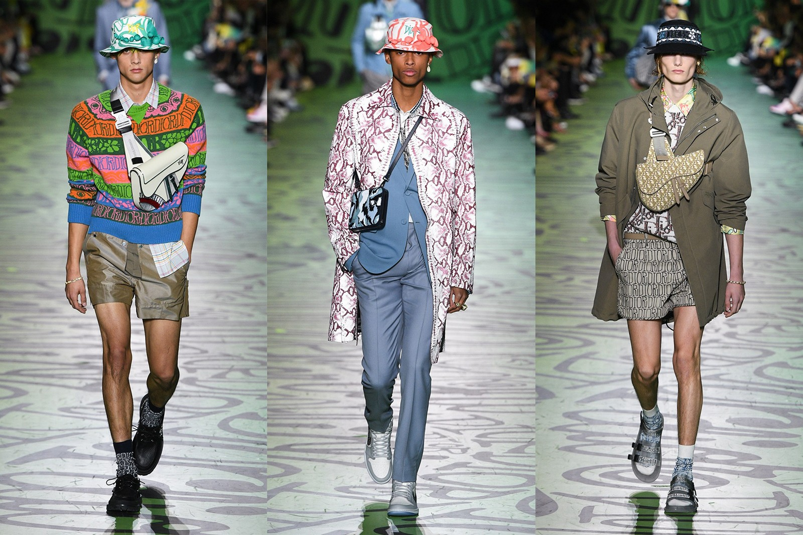 dior men pre fall 2020 stussy collaboration runway fashion jackets saddle bags bucket hats