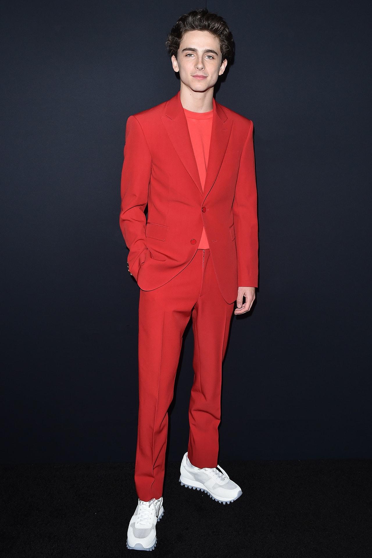 Timothee Chalamet Actor Berluti Menswear Fall/Winter 2018-2019 show Paris Fashion Week Suit Burgundy