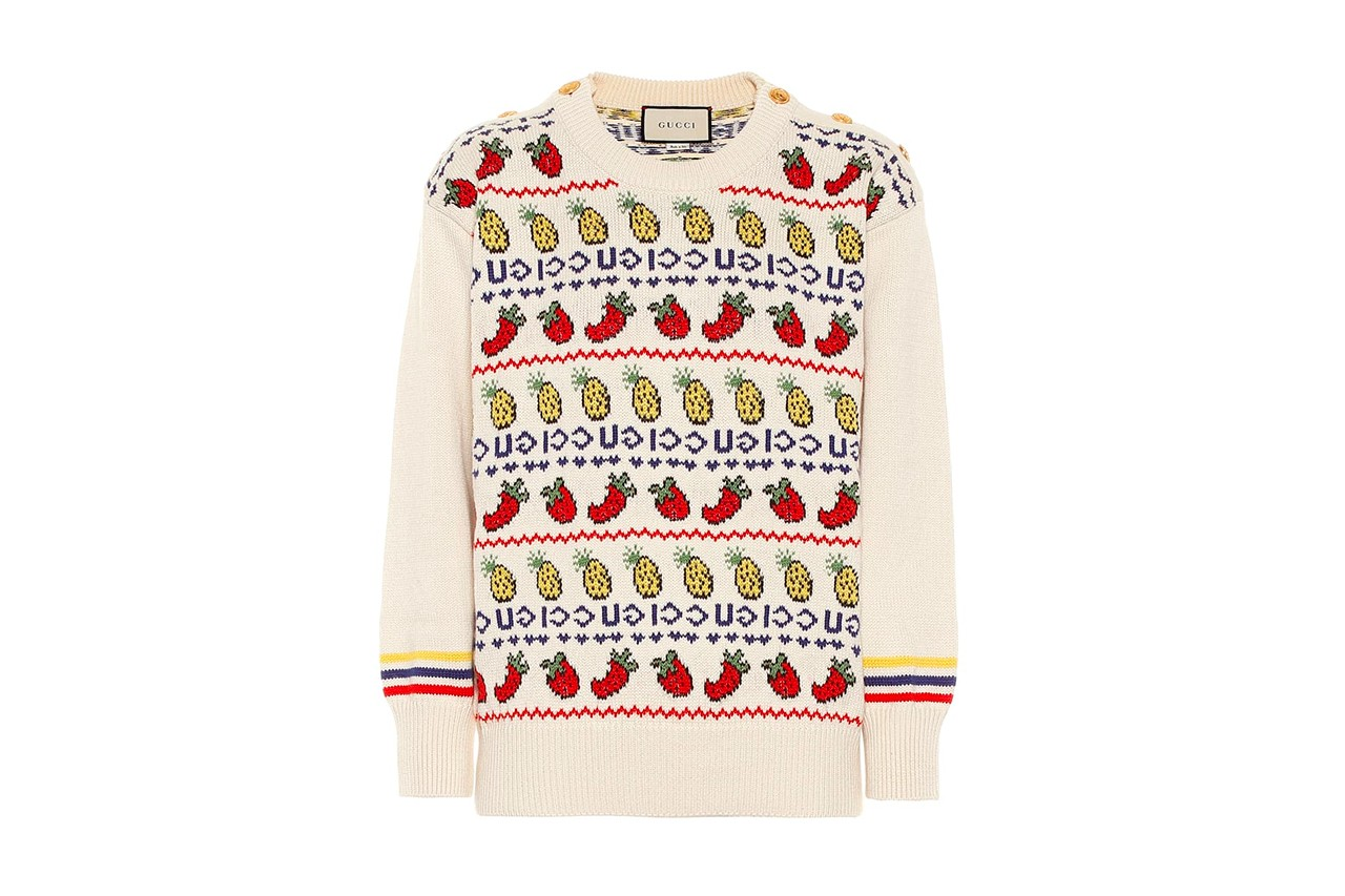Junya Watanabe Brown Ugly Christmas Sweater Jumper Yellow Holiday Editorial Fashion Marine Serre Skirt Silk Gucci Jewel Sneakers Flashtrek