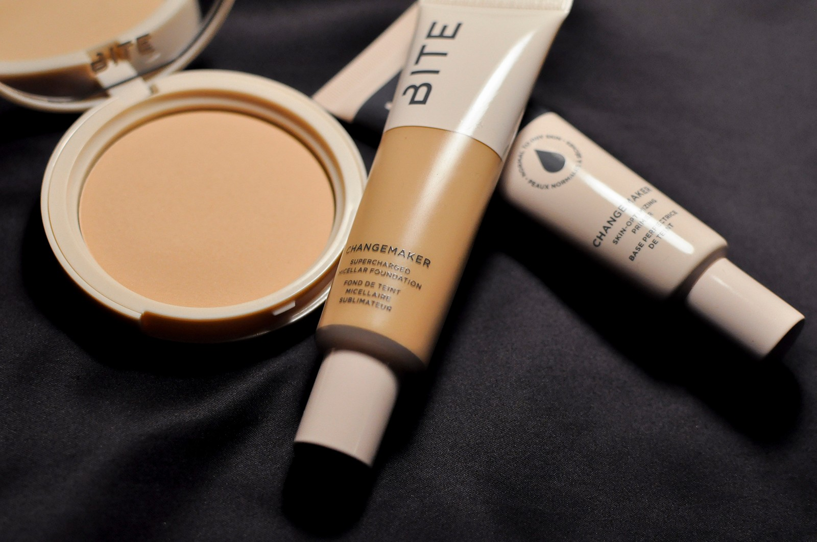 BITE Beauty Changemaker Supercharged Micellar Foundation Skin-Optimizing Primer Flexible Coverage Pressed Powder