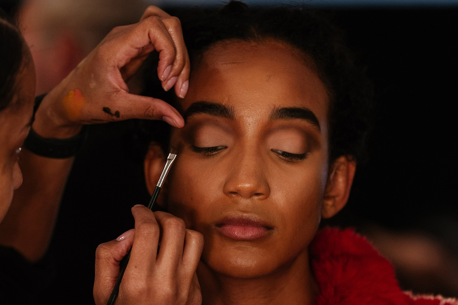 christopher john rogers fall winter new york fashion week nyfw collection backstage makeup hair