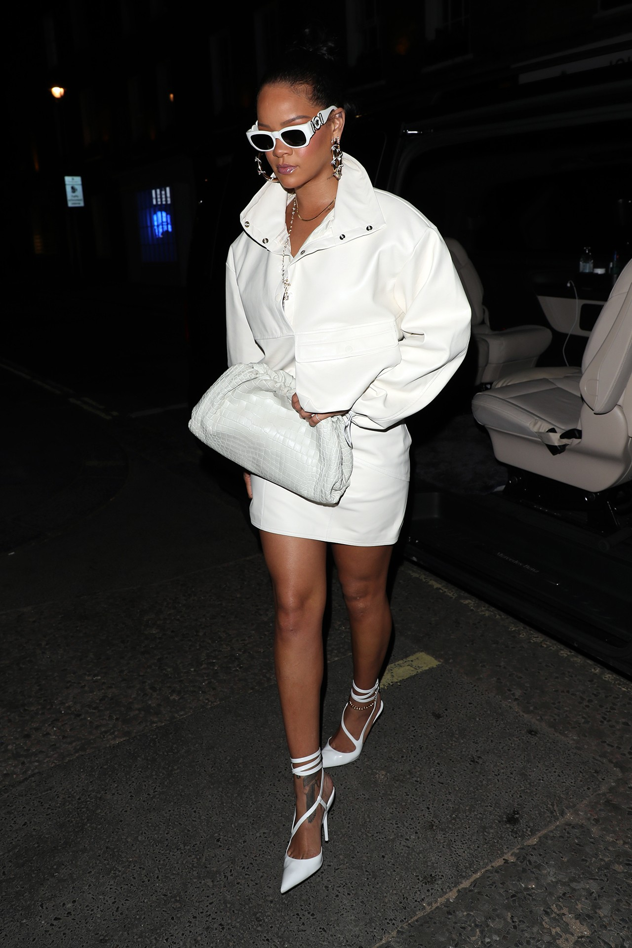 Rihanna Robyn Fenty Street Style White Tube Dress Sunglasses Necklace Half Up Hairstyle Tattoos