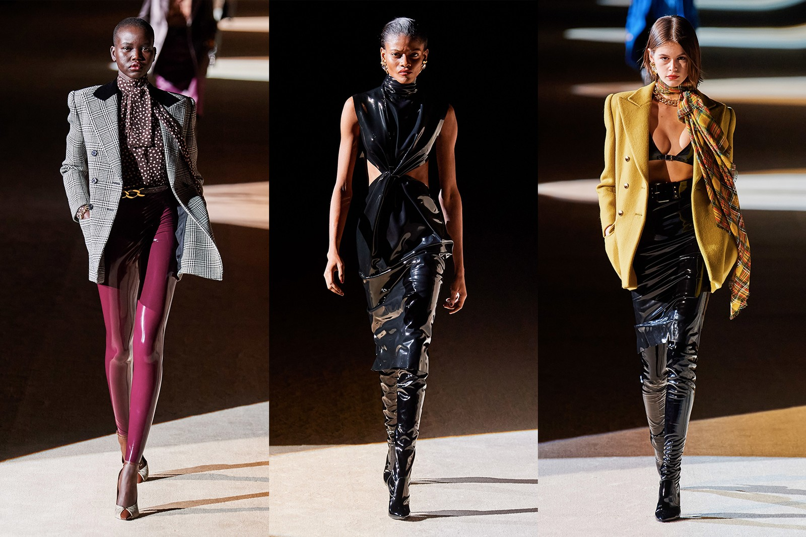 saint laurent fall winter collection paris fashion week runway show kaia gerber adut akech outerwear coats grey yellow mustard scarves blouse bralette latex skirt black maroon pants