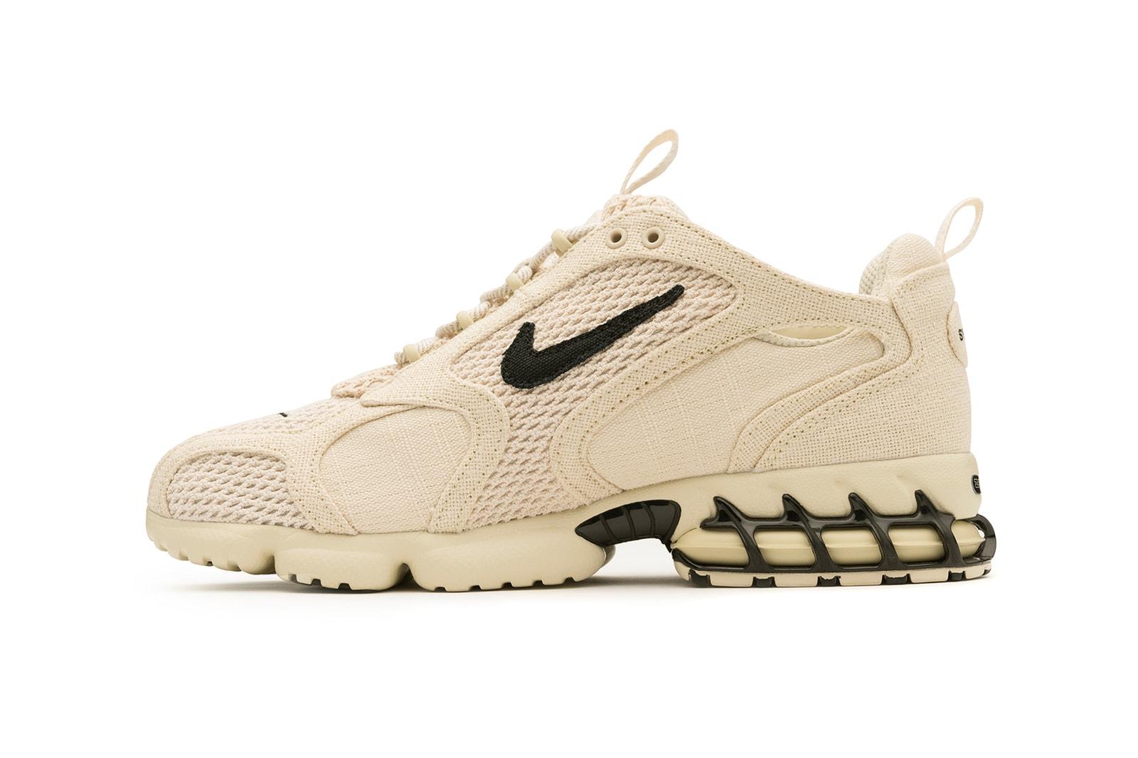 nike stussy collaborazione air zoom spiridon in gabbia 2 sneakers beige nero argento calzature scarpe sneakerhead