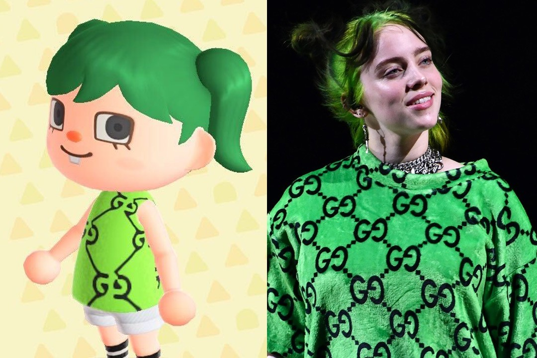 Animal Crossing New Horizons ACNH Hairstyle Color Nintendo Switch Billie Eilish Green Gucci