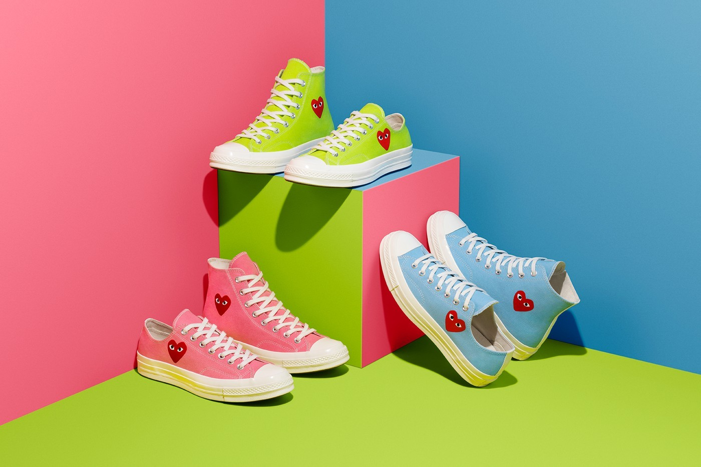 Comme des Garcons CDG PLAY Converse Chuck 70 Limited Edition Sneaker Neon Green Heart Eyes High Top