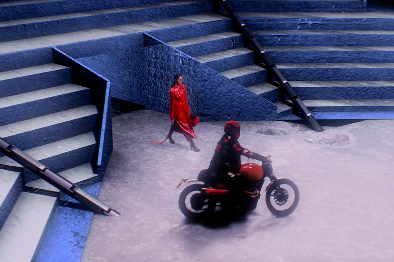 Angel Chen Digital Runway Show Virtual Reality Catwalk Shanghai Fashion Week Chinese Designer Red Coat Motorcycle