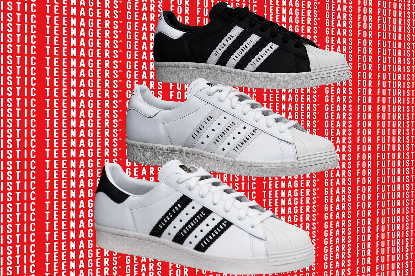 HUMAN MADE x adidas Originals Superstar 80 White Black
