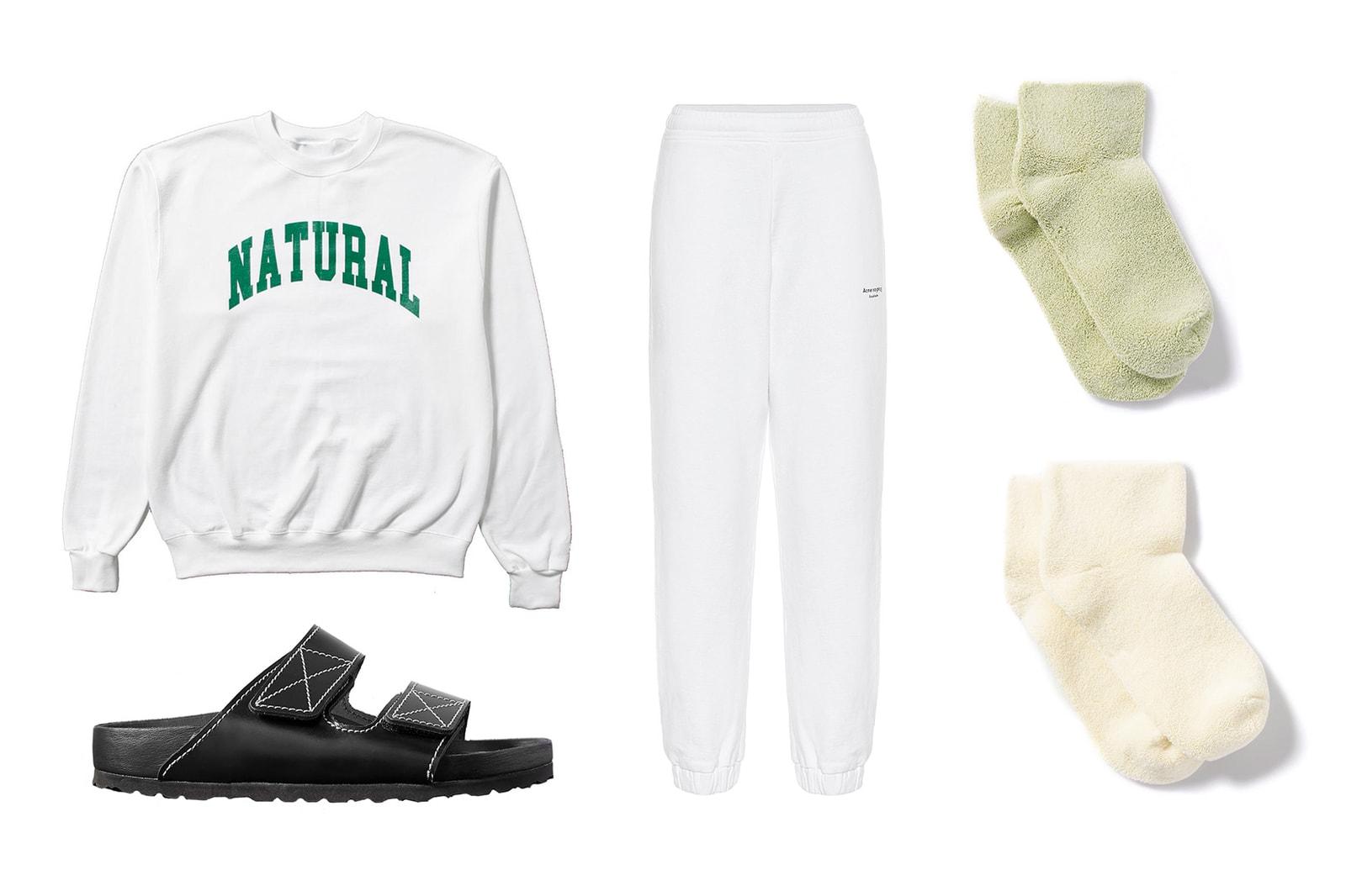 "Acne White Sweatpants Peace & Quiet ""Natural"" Sweater Proenza Schouler x Birkenstock Arizona in ""Black"" Baserange Cotton Blend Socks"