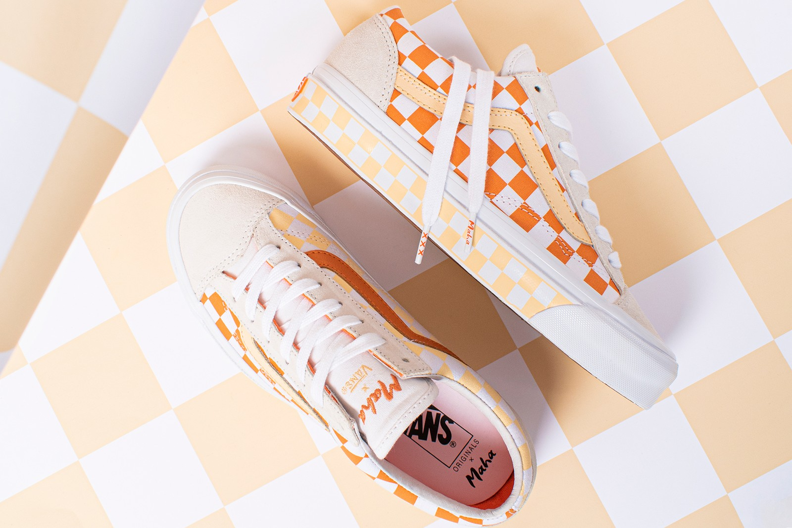 maha amsterdam vault by vans collaboration og style 36 lx sneakers orange yellow white shoes footwear sneakerhead