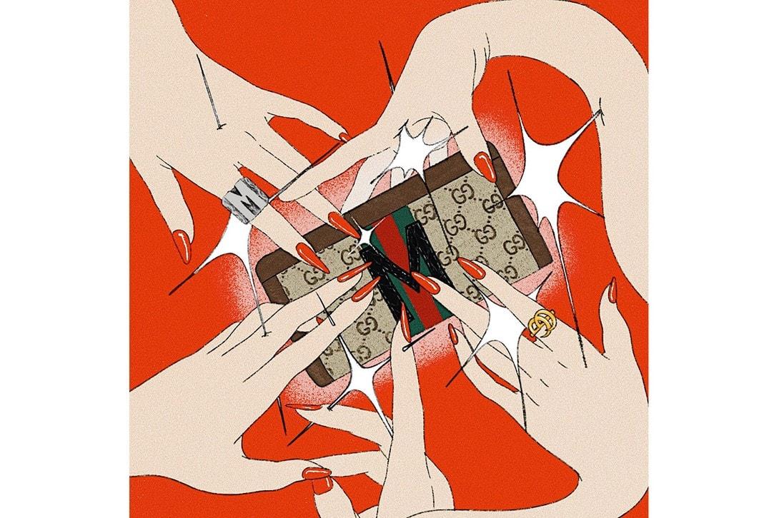 illustration miki kim drawing art gucci wallet hands
