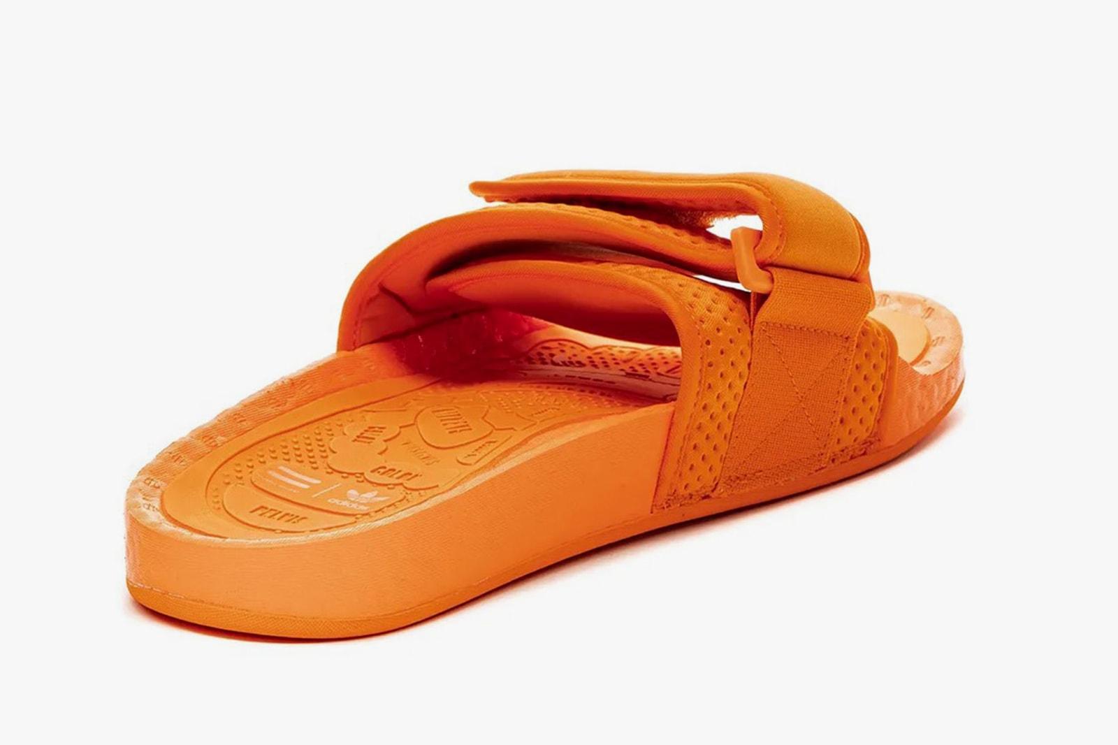 pharrell williams adidas originals boost slides sandals orange black pink release date