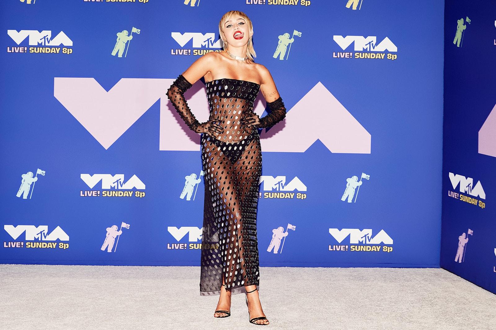 2020 mtv vmas red carpet best looks miley cyrus mugler black sheer dress