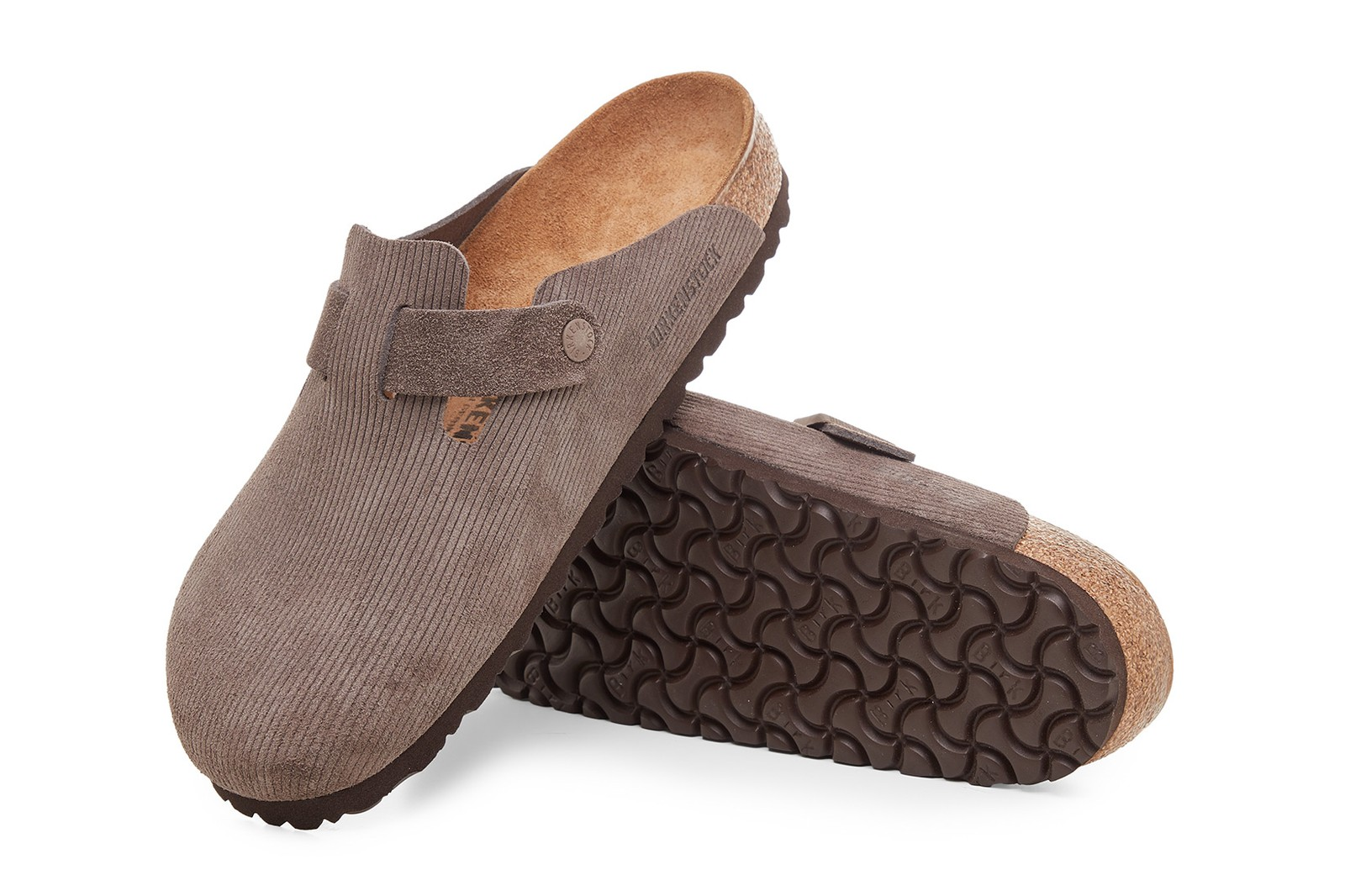 stussy birkenstock boston clogs mules slippers collaboration corduroy suede brown white anthracite bone