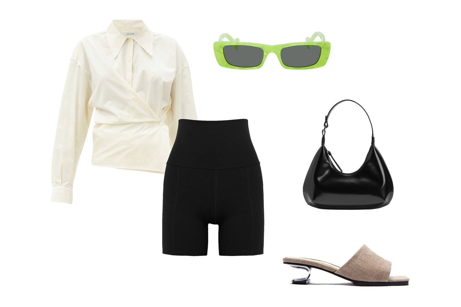 Live the Process Geometric Black Stretch Jersey Shorts Lemaire Cotton Poplin Wraparound Shirt Nicole Saldana Sara Heels Gucci Green Geometric Sunglasses