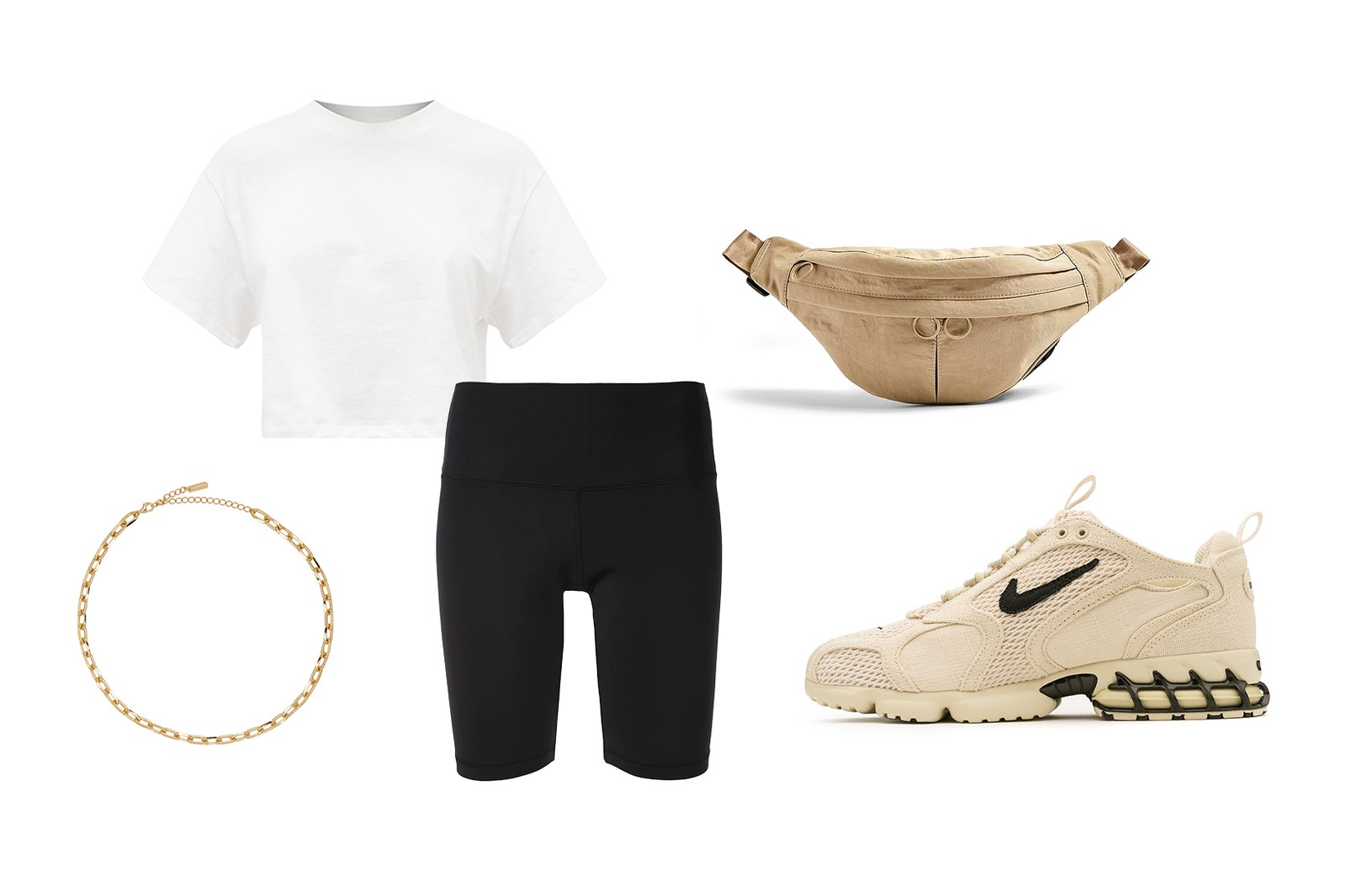 WARDROBE.NYC Release 02 Bike Shorts X Karla the Crop Cotton Jersey T-Shirt Topshop Babs Double Pocket Nylon Bumbag Numbering Gold Chain Necklace Stussy Nike Air Spiridin Cage 2 Fossil