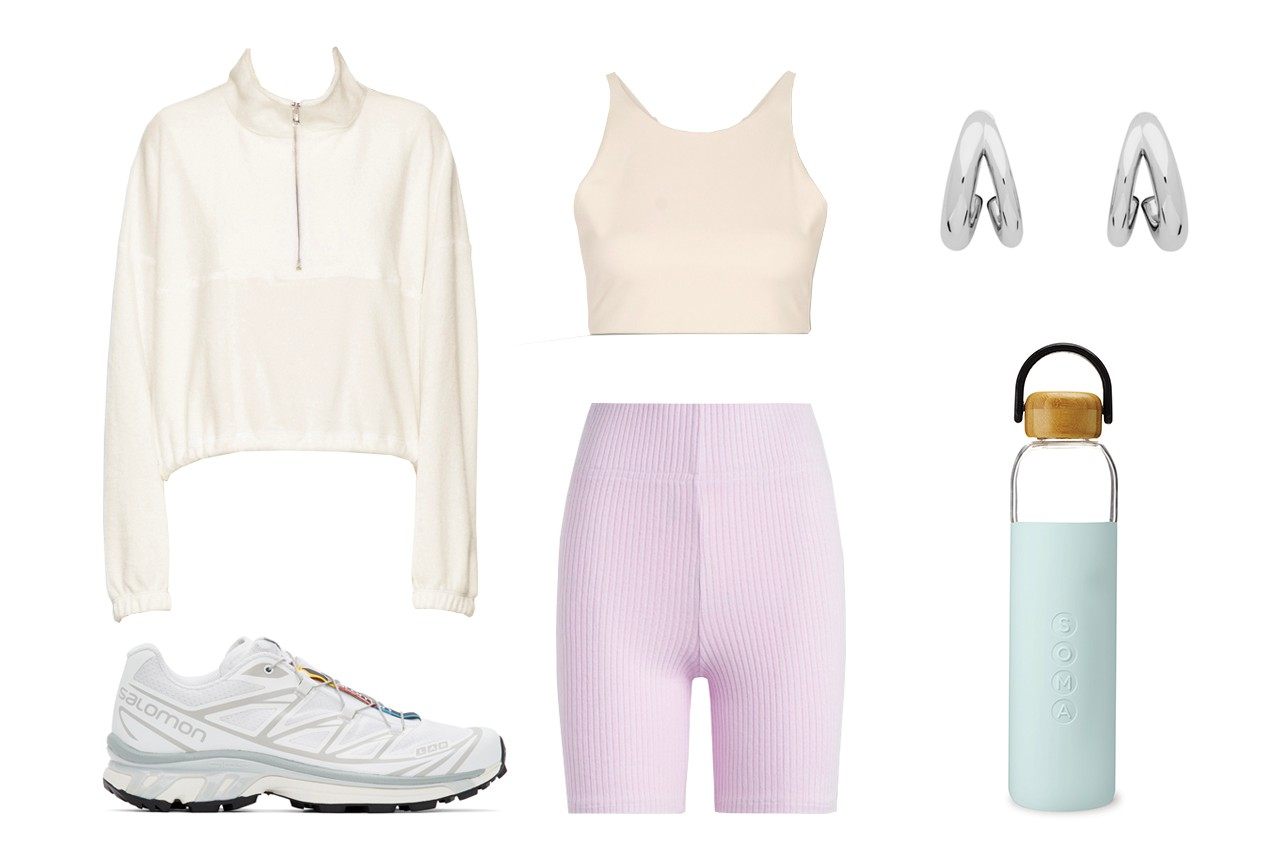 Leset Alison Ribbed Stretch Knit Shorts Gil Rodriguez SSENSE Exclusive White Terry Diana Half Zip Sweatshirt Girlfriend Collective Topanga Stretch Sports Bra Salomon White Limited Edition XT6 Adv Sneakers Portrait Report Silver Double Hoop Earrings SOMA Glass Water Bottle