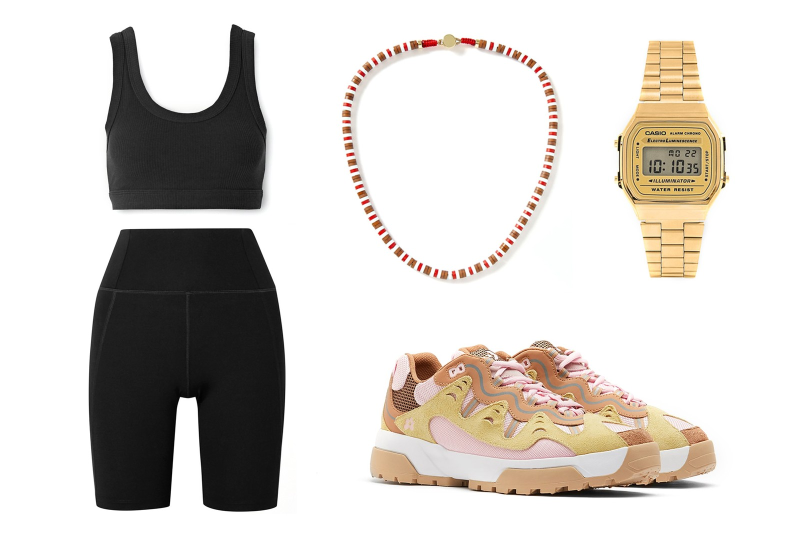 Girlfriend Collective Bike Stretch Shorts Alo Yoga Wellness Ribbed Stretch Sports Bra Roxanne Assoulin U Tube Wood Necklace GOLF le FLEUR Converse Gianno Ox Parfait Pink Casio Gold Watch