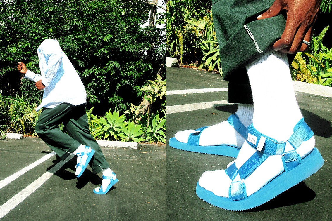 Golf Wang Suicoke DEPA Velcro Strap Sandals Blue Green Tyler the Creator Collaboration