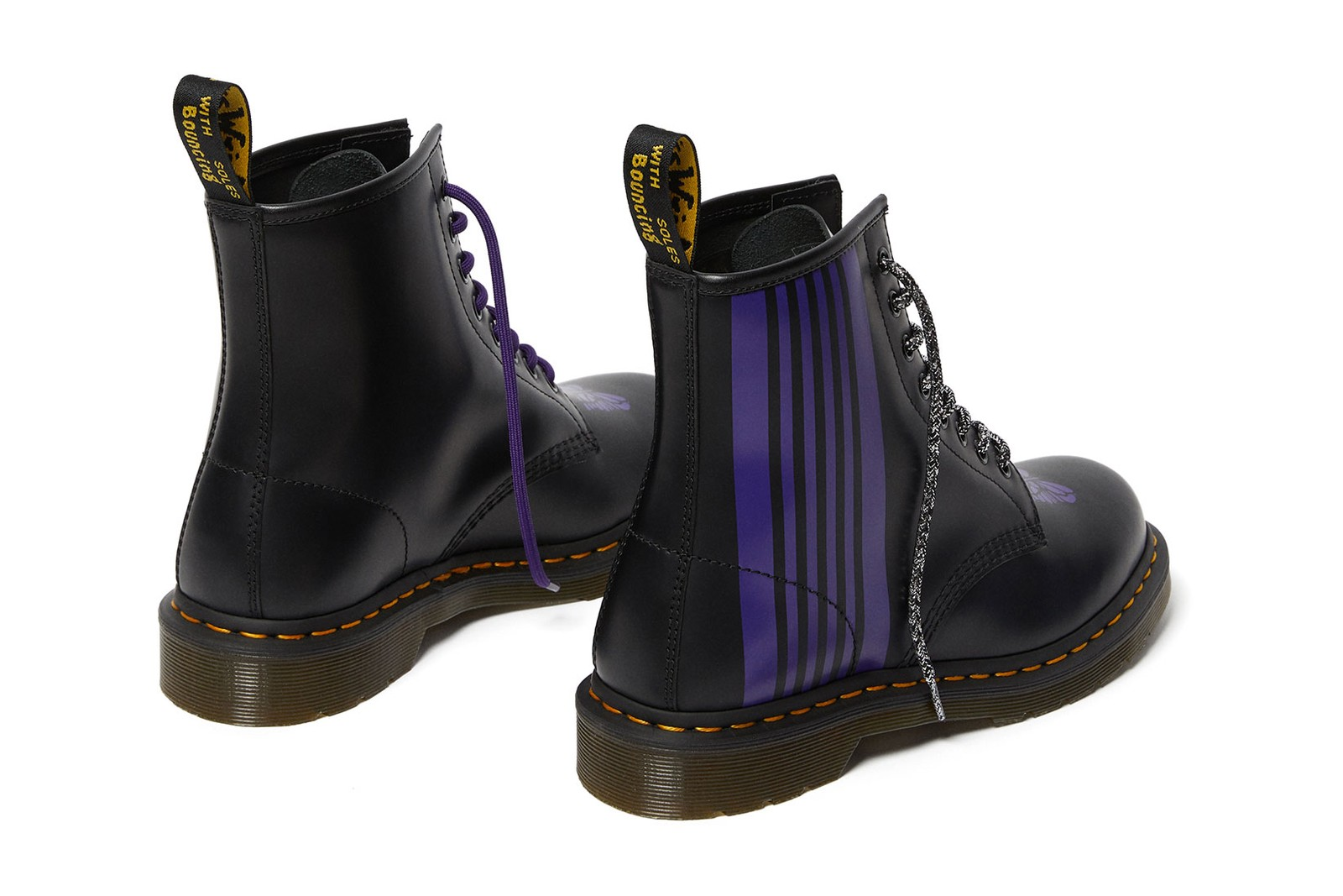 needles dr. martens 1460 remastered collaboration boots purple butterflies