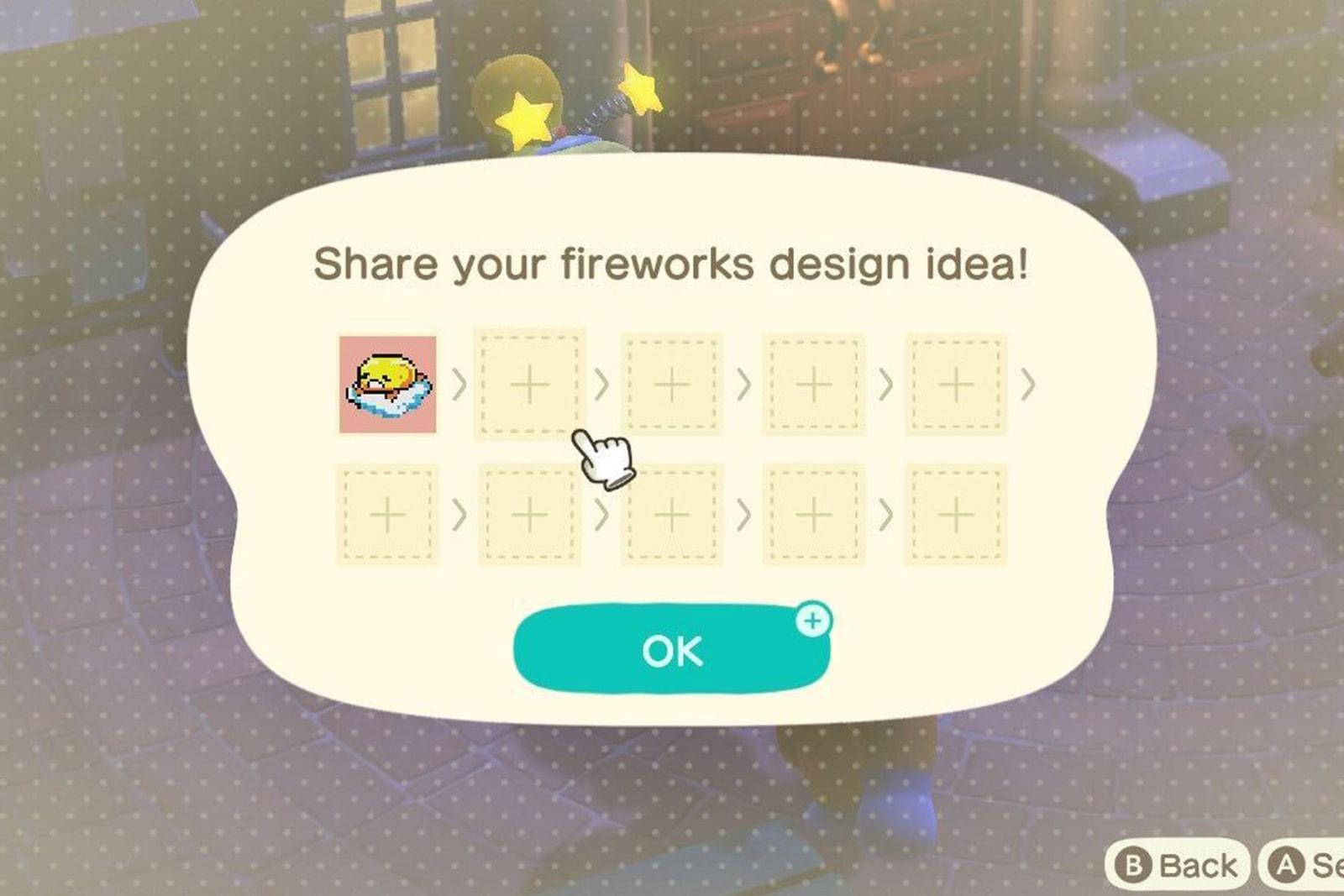 nintendo animal crossing update fireworks sunday night customization gudetama