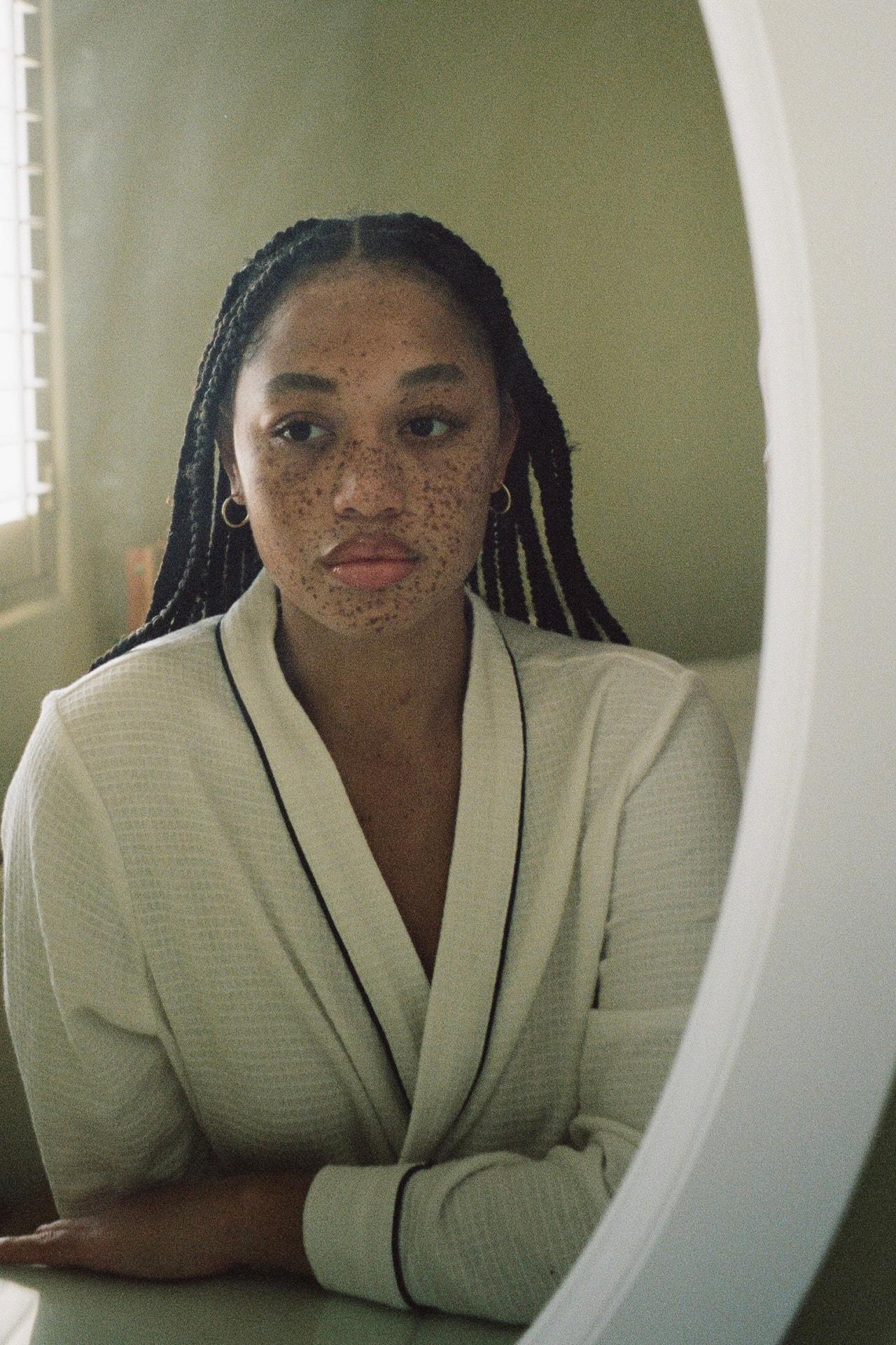 Salem Mitchell Model Los Angeles Beauty Makeup Glossier Lip Gloss Clear Bathrobe Freckles