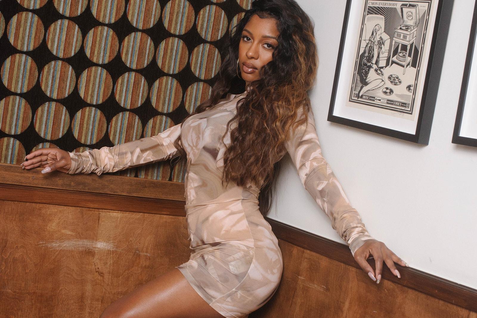 Victoria Monét Jaguar Singer Songwriter Music Artist Underwear Skims Amiri Blouse Jewelry Necklace Hotel Editorial Fashion Socks