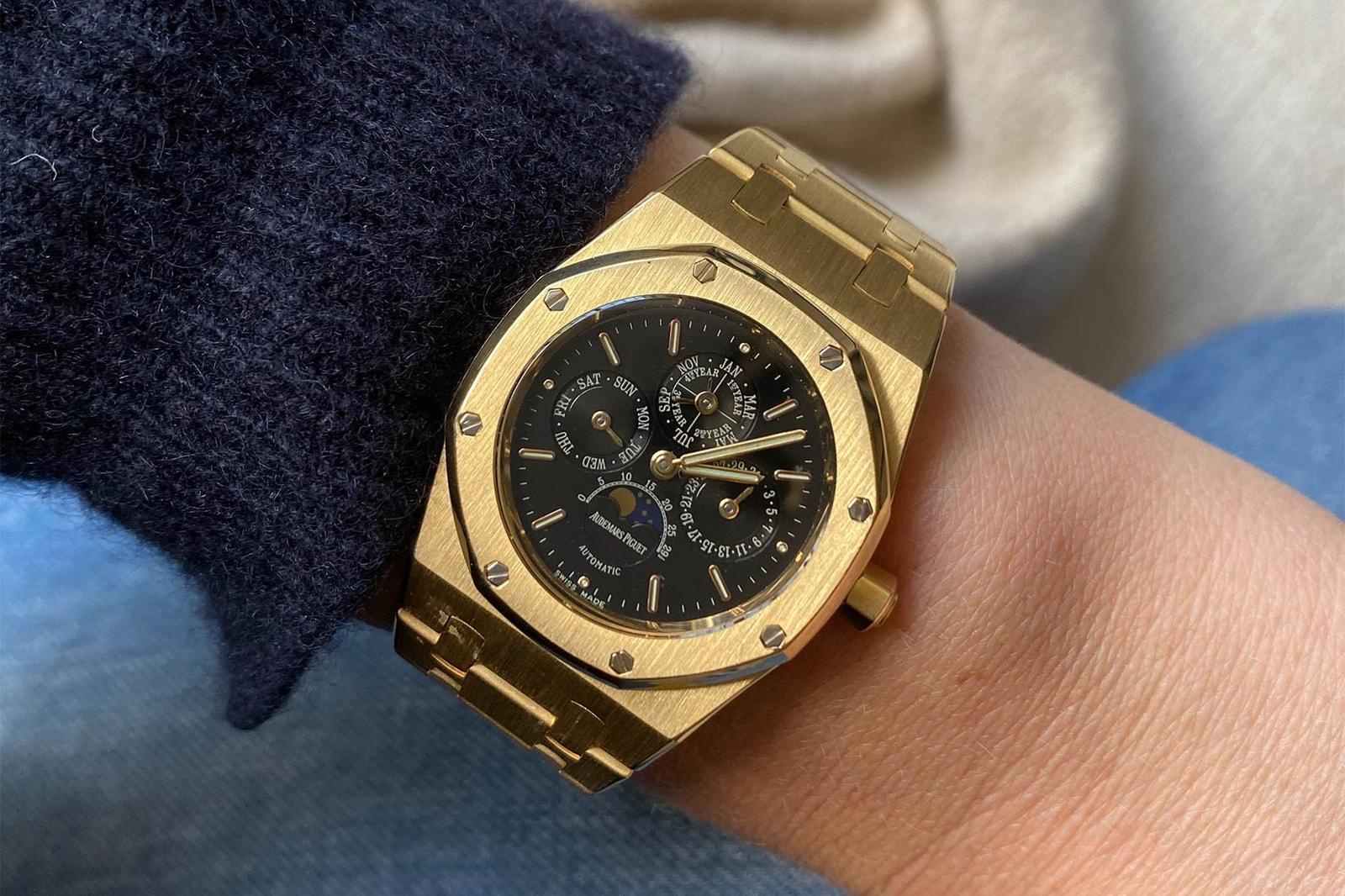 1968 Rolex DayDate Ref 1803 White Gold 1990s Audemars Piguet Royal Oak Perpetual Calendar Ref 25800 Yellow Vintage Watch Cara Barrett