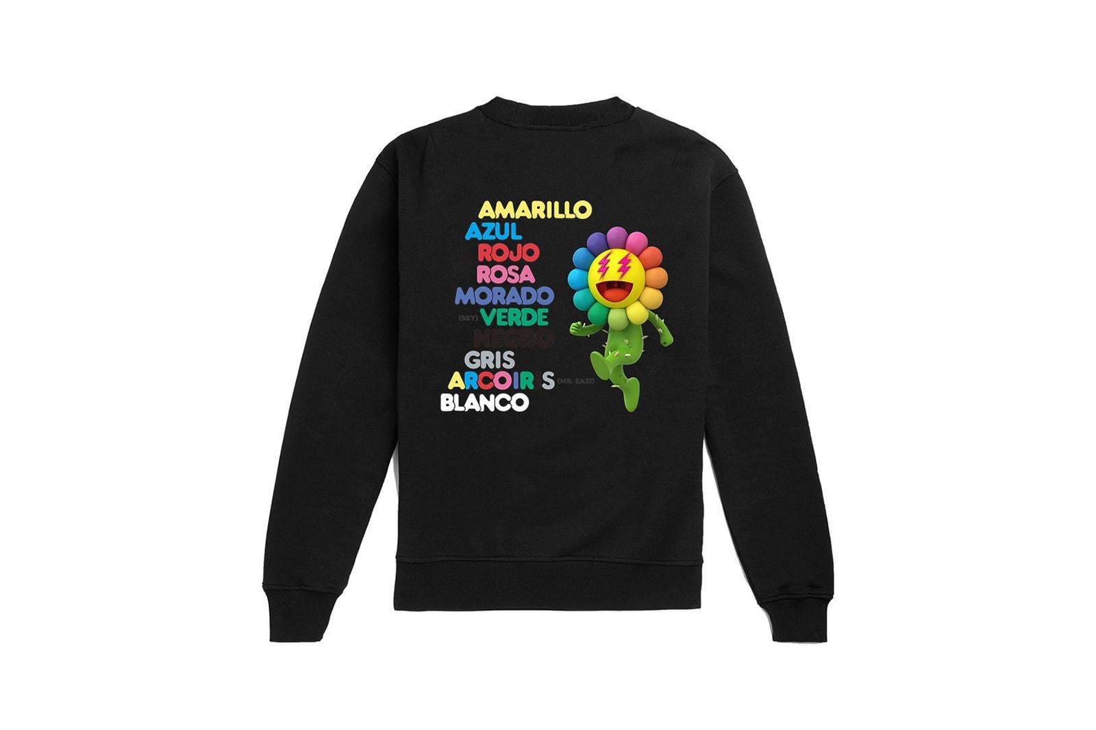 takashi murakami j balvin collaboration drop 4 hoodies t shirts sweatshirts colores album green black flower