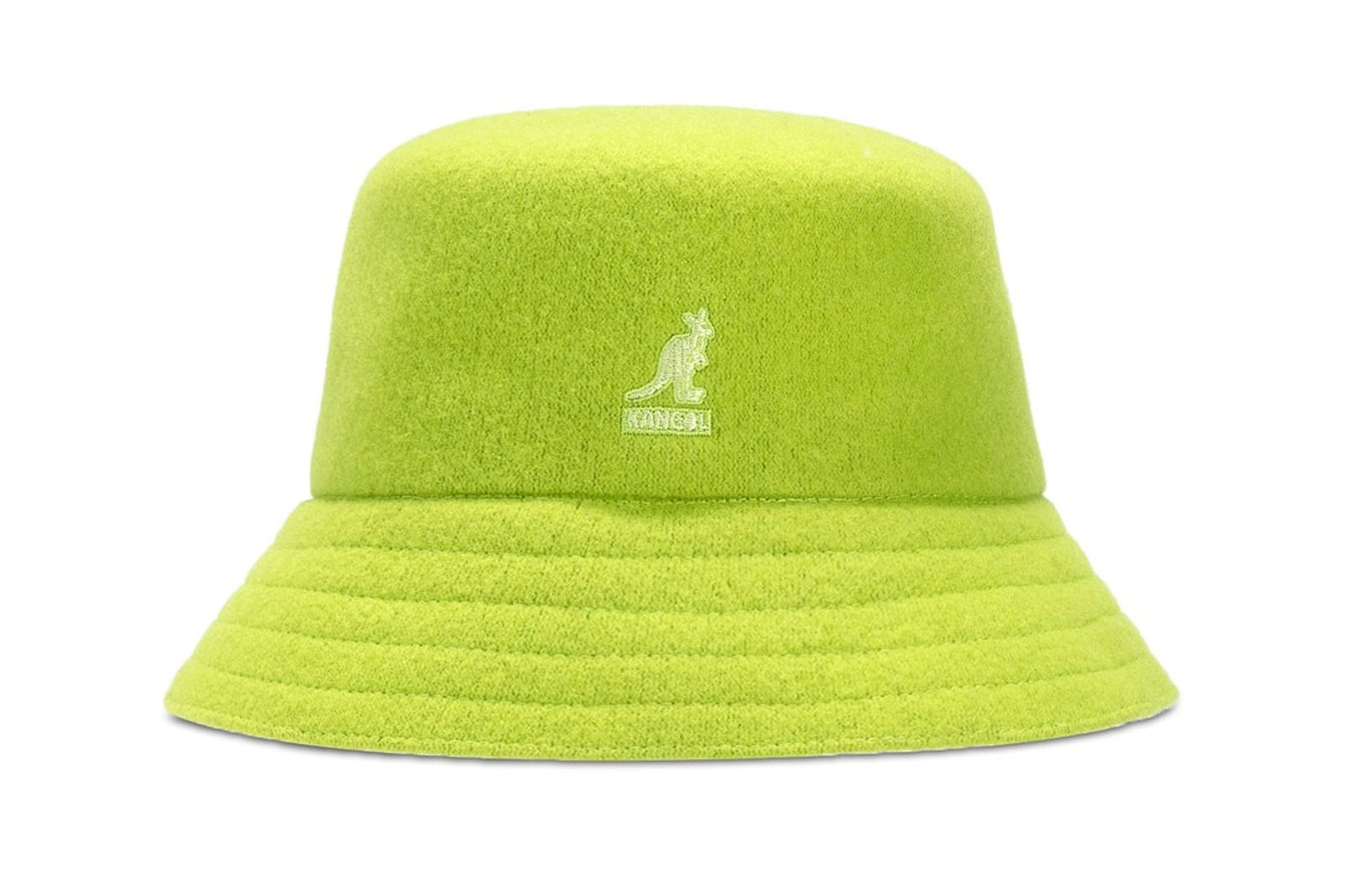 Prada bucket hat triangle logo plaque neon fluo fluorescent yellow fashion women accessories