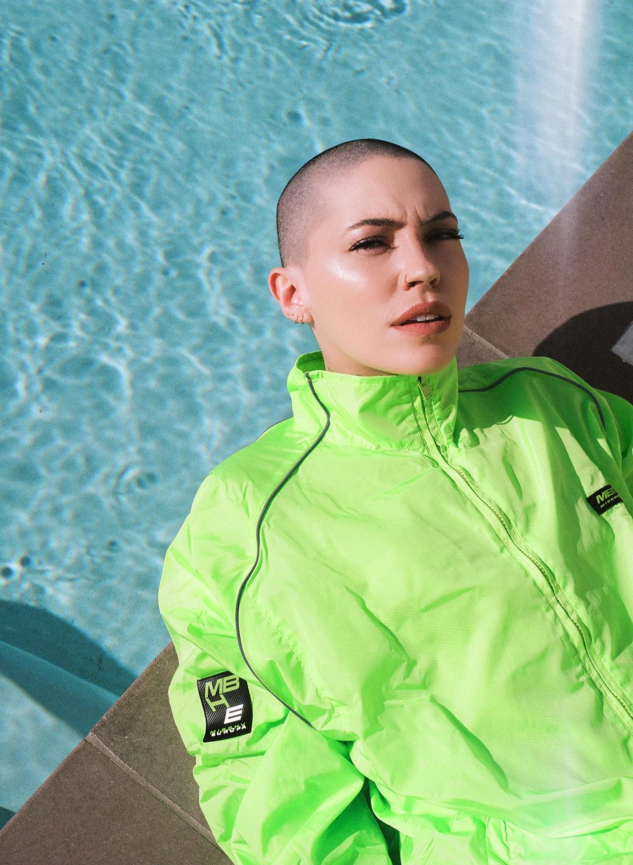 Bishop Briggs Singer Songwriter Music Artist Sarah Grace McLaughlin Shaved Head Tattoos Misbhv Neon Green Tracksuit