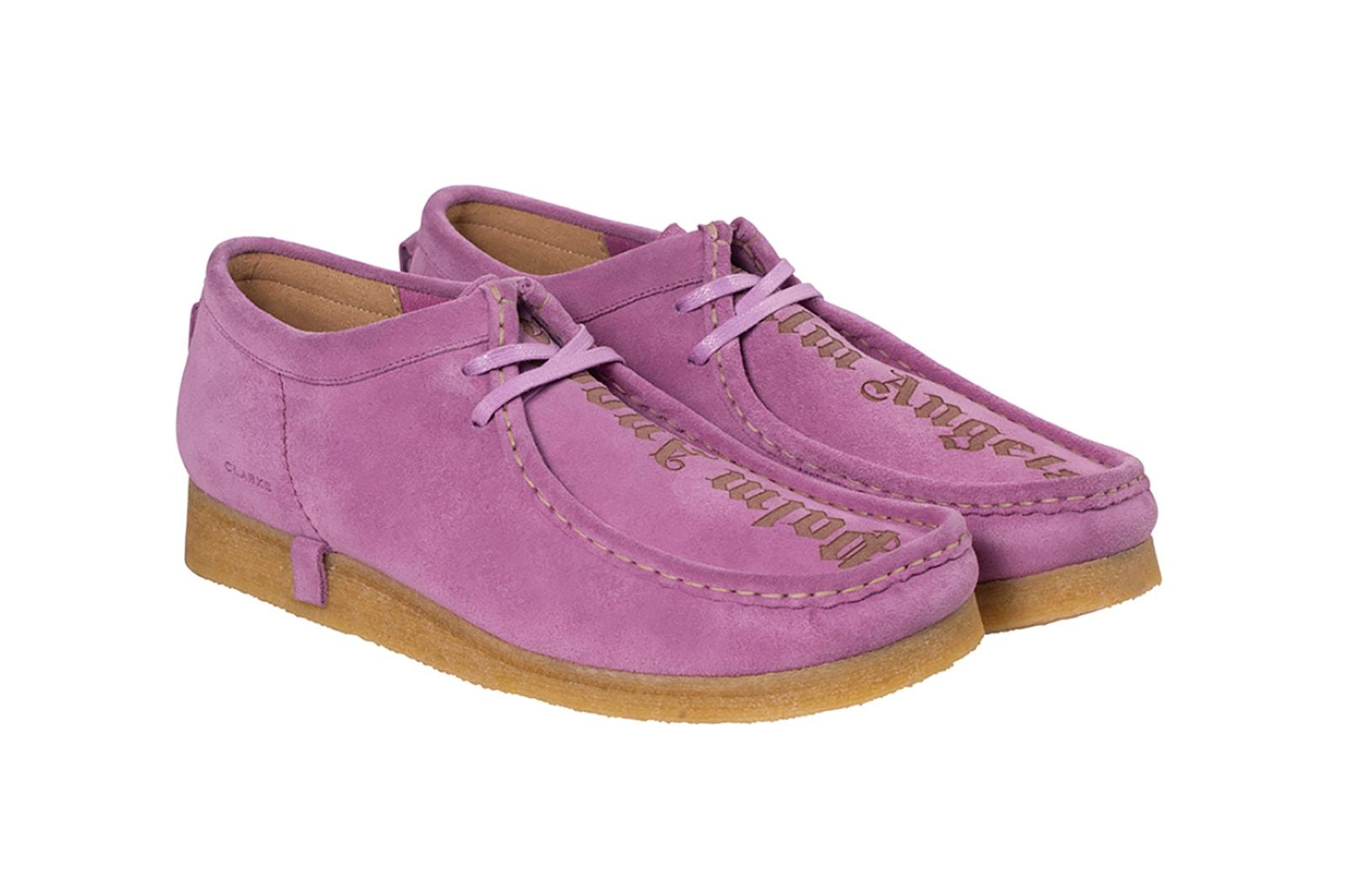 clarks originals palm angels collaboration wallabee boots black purple shoes footwear