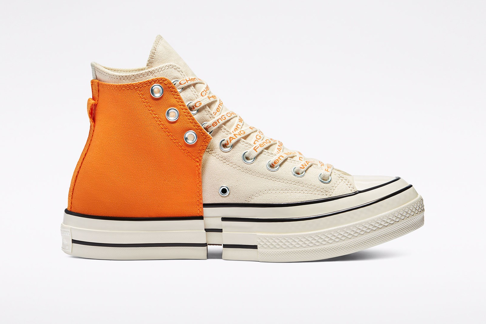 feng chen wang converse chuck 70 2 in 1 high top deconstructed sneakers black white orange collaboration