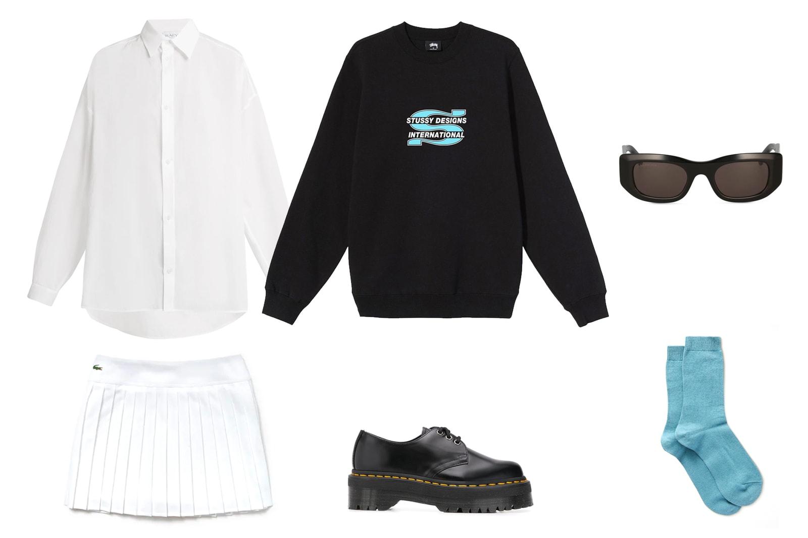 Crewneck Sweatshirt Sweater Outfit Nike Logo Swoosh Vintage Blue Jeans Prada Black Nylon Bag
