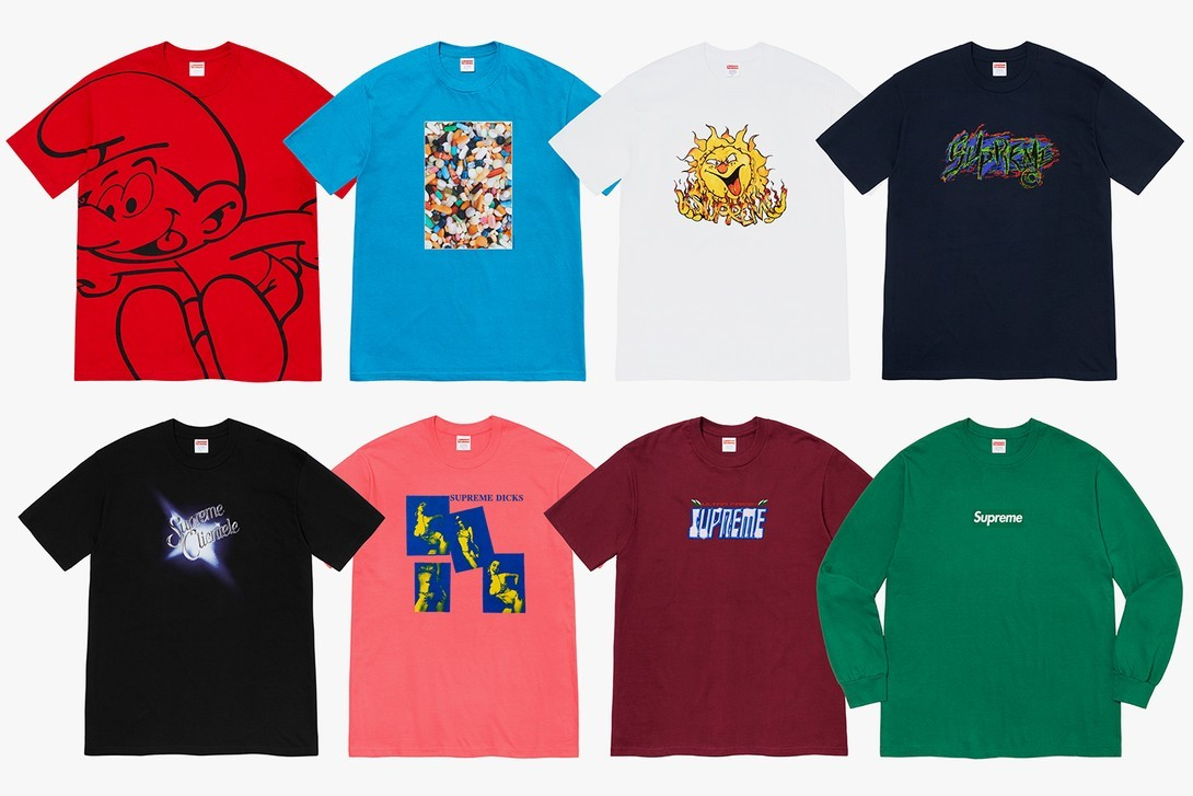 supreme fall winter tees t-shirts box logo the smurfs collaboration pills release info