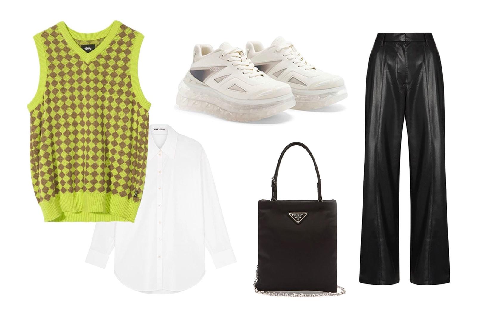 sweater knit vest outfits ideas styling stussy green checker acne studios white shirt shoes53045 bumpair nanushka leather trousers jil sander mini bag