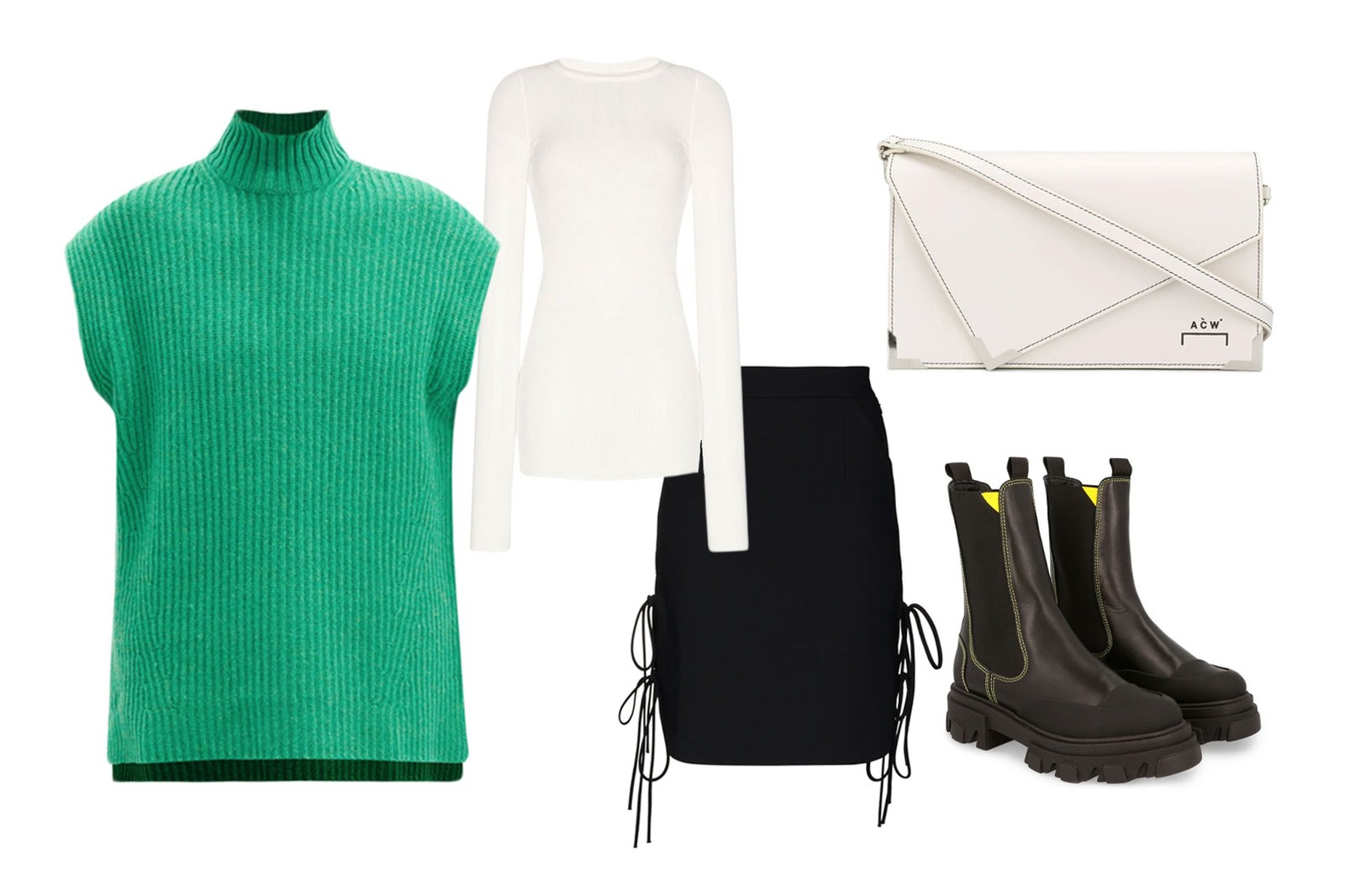 sweater vest ganni green rick owens materiel skirt a cold wall bag chelsea boots