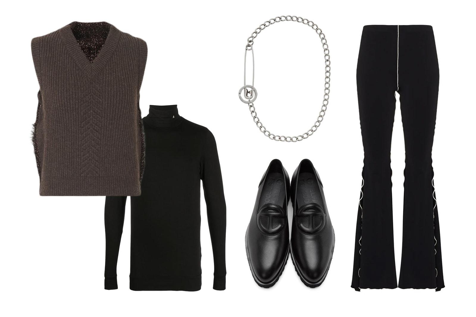 sweater knit vest styling outfit ideas maison margiela fantabody flared leggings ambush turtleneck telfar loafers