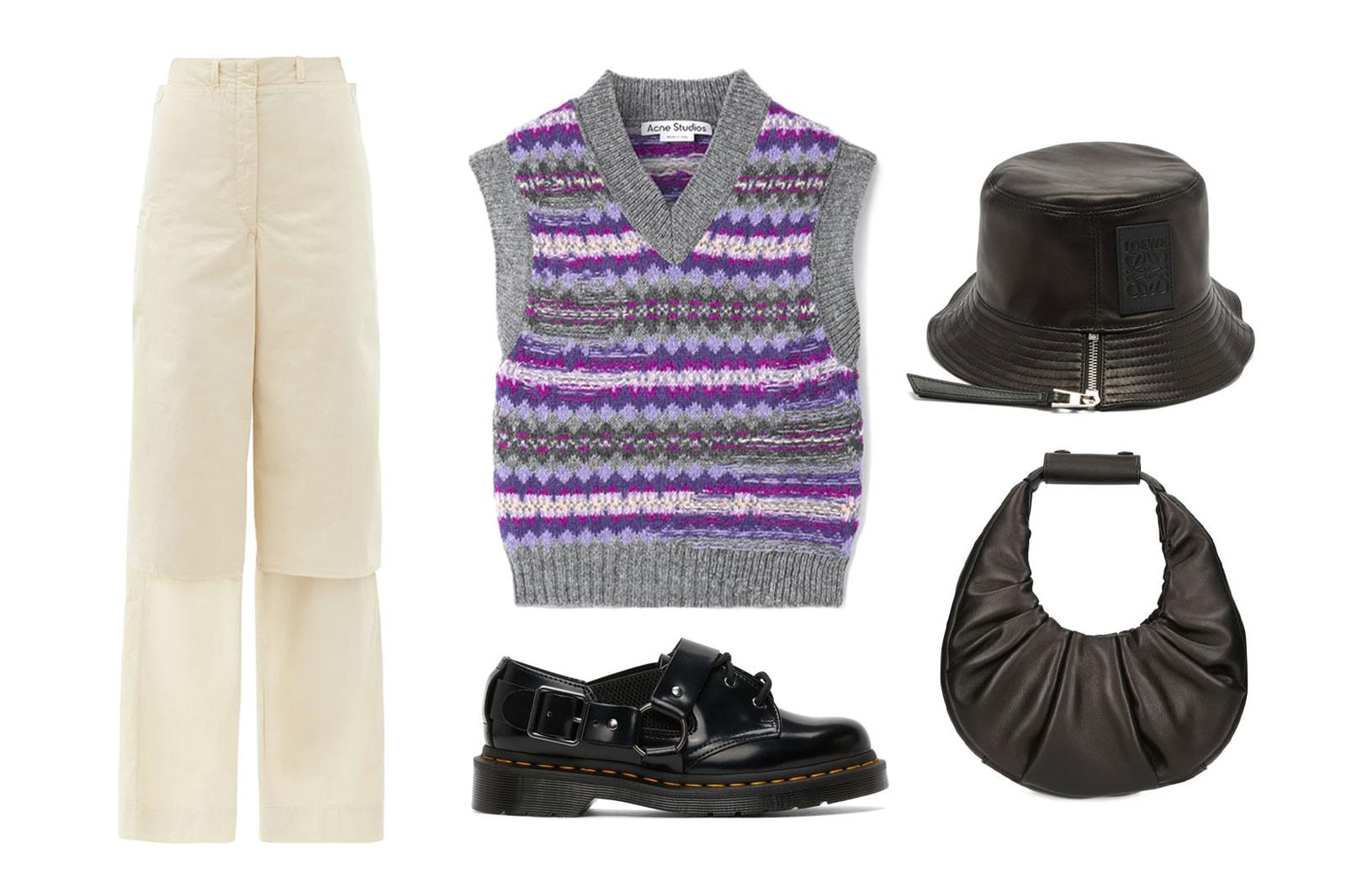 sweater knit vest acne studios purple striped staud moon bag loewe bucket hat lemaire jeans dr martens derby