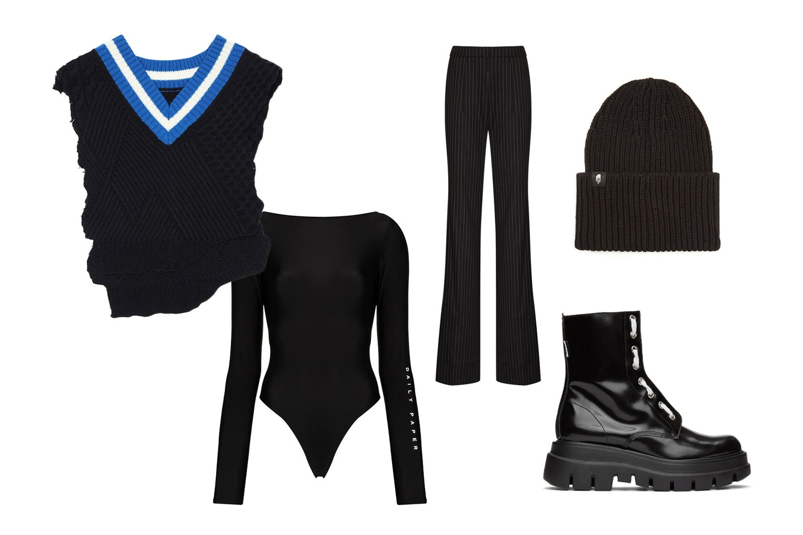 sweater knit vest all black outfits styling ader error warning clan daily paper bodysuit pants beanie msgm