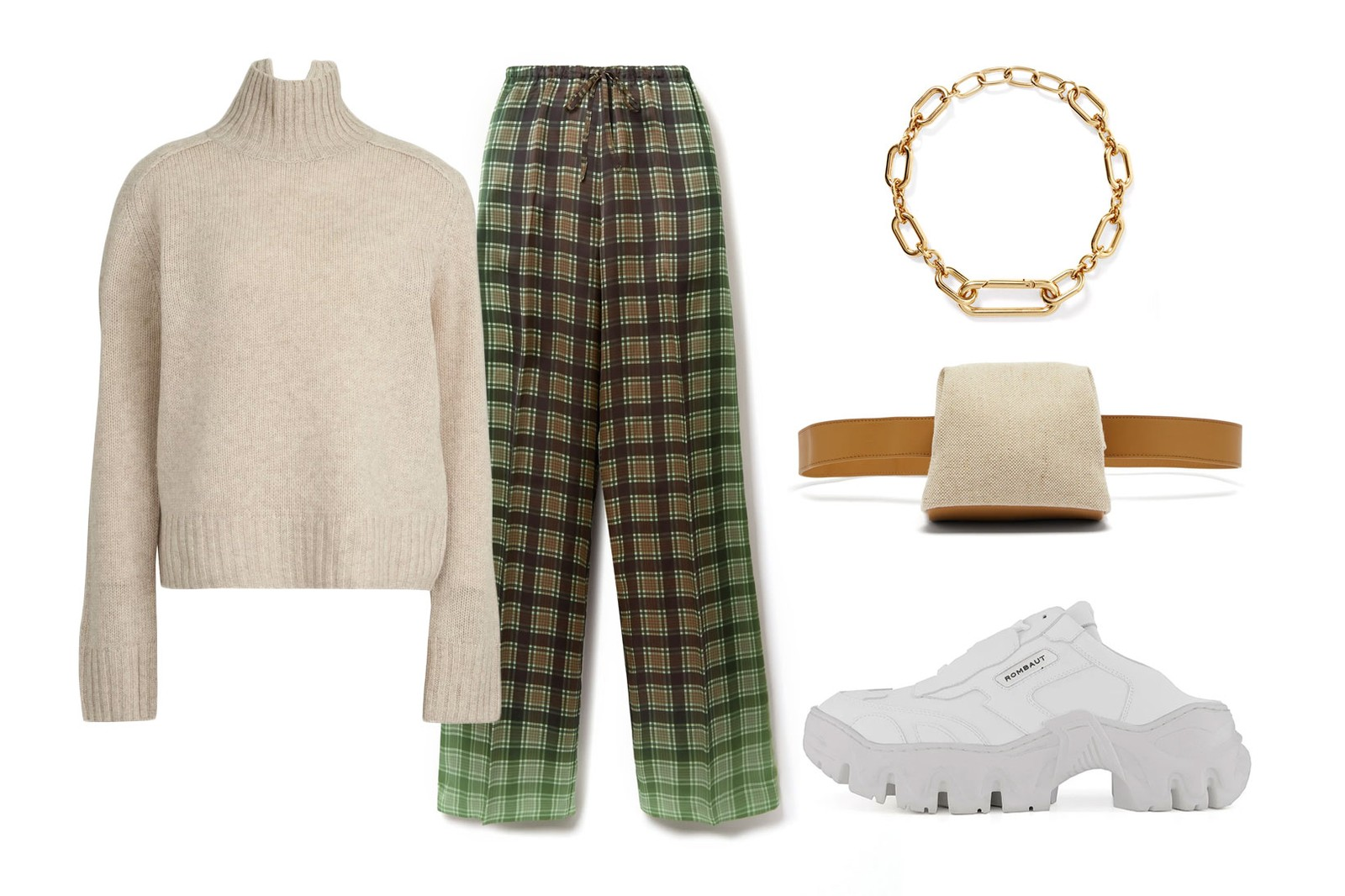 beige fall winter outfit style guide acne studios knit sweater dries van noten check pants