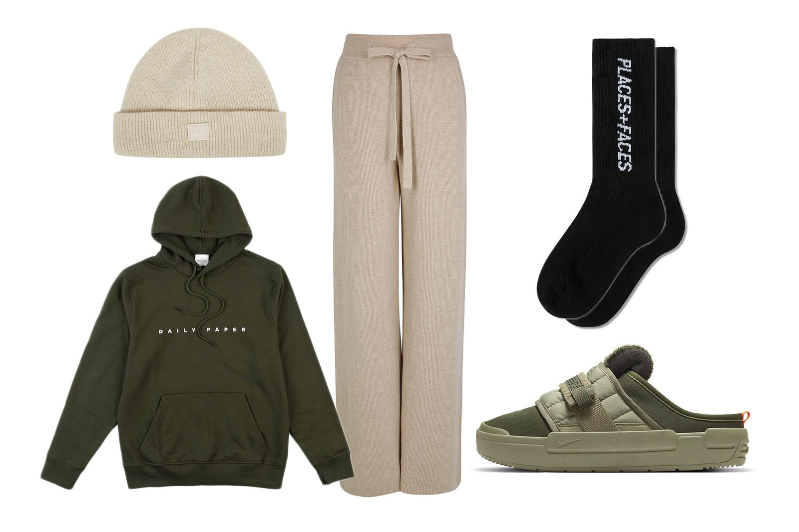 beige fall winter outfit style guide home loungewear daily paper hoodie nike offline